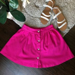 Textured Pink Button Down Mini Skirt